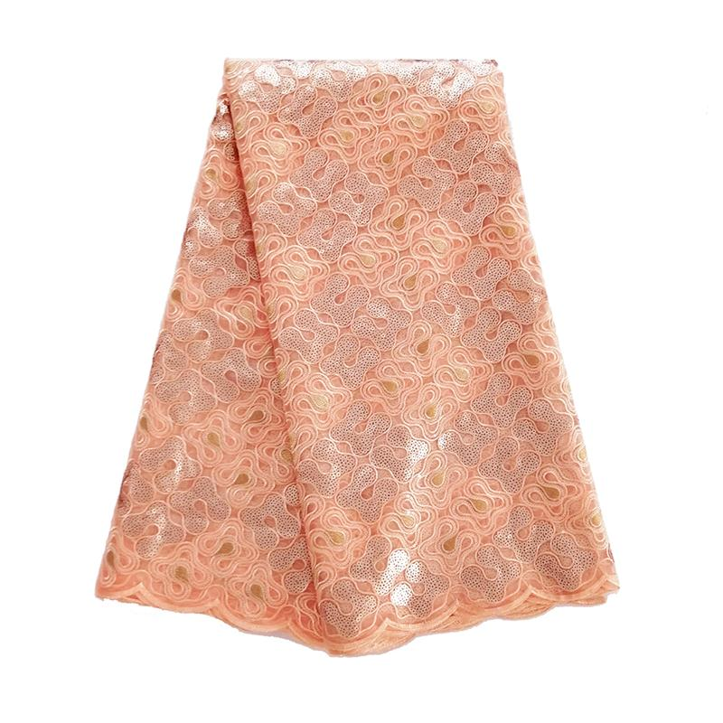 High Quality African Organza Sequin Lace Fabric Hot Sale Peach Swiss Sequence Organza French Net Lace Fabric for Women Dress