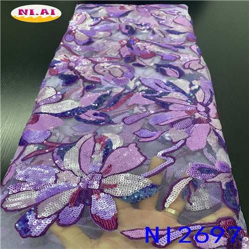 High Quality African Sequence Lace Fabric 2020 With Flower Embroidery African Ribbon Organza Fabrics For Wedding NAni2697B-2