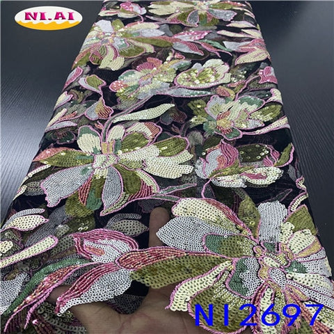 Image of High Quality African Sequence Lace Fabric 2020 With Flower Embroidery African Ribbon Organza Fabrics For Wedding NAni2697B-2