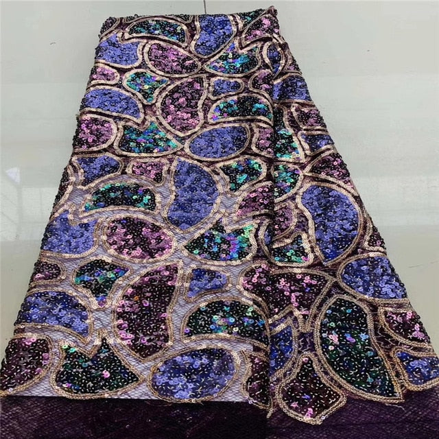 High Quality African Sequins Lace Fabric French Net Embroidery Tulle Lace Fabric For Nigerian Wedding Party Dress    JYN195