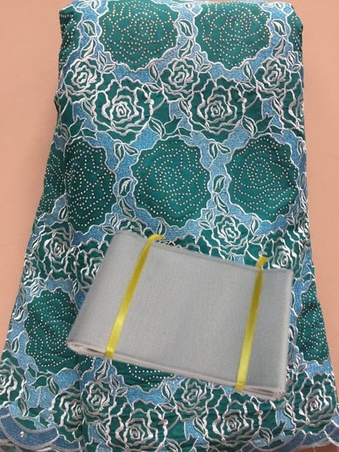 High Quality African Swiss Cotton Voile Lace Cheap African stones Lace Fabrics With Aso Oke High Quality For Women FAX036