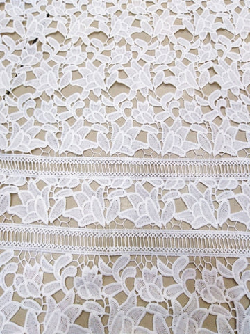 Image of High Quality African milk silk  Lace Fabric Water Soluble off white Nigerian Guipure Wedding Dress African Lace Fabric   JYno253