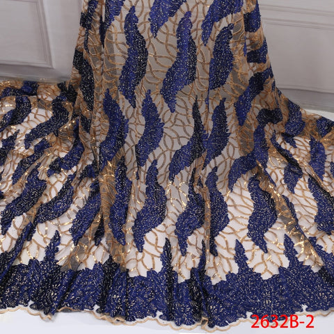 Image of High Quality French Lace Fabric 2019 Latest African Organza Lace Fabric with Sequin Cheap Embroidery Lace Fabrics GD2632B-3