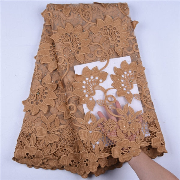 High Quality Milk Silk Lace Fabric Fashion Flower French Milk Silk Lace Fabric With Stone African Nigerian Laces For Party F1634
