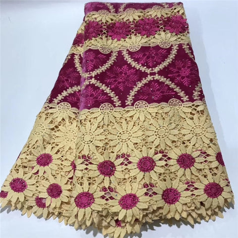 Image of High Quality Nigerian Lace Fabrics African French Net Lace Fabric Embroidered Guipure Lace Fabric For Wedding   DFS80