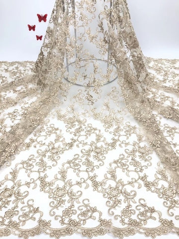 Image of High Quality Nigerian Lace Fabrics with Stones African French Net Lace Fabric Embroidered Tulle Mesh Lace Fabric