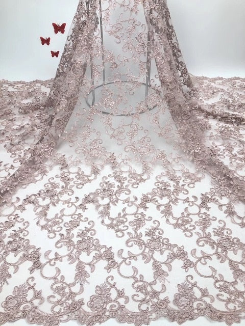 High Quality Nigerian Lace Fabrics with Stones African French Net Lace Fabric Embroidered Tulle Mesh Lace Fabric