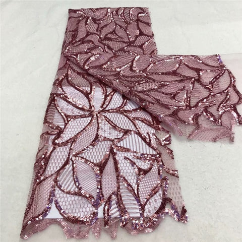 Image of High Quality Sequins Lace Fabrics 2020 Latest African Sequence Lace Fabric for Bridal Lace Nigerian Net Tulle Lace Fabric