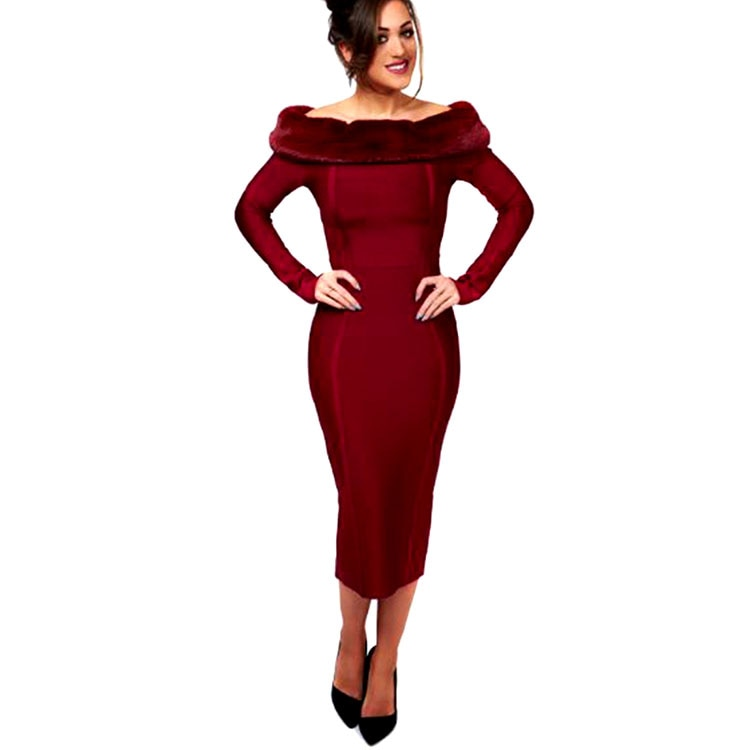 High Quality Sexy Women Dress Long Sleeve Red Fur Off The Shoulder Bandage Dress