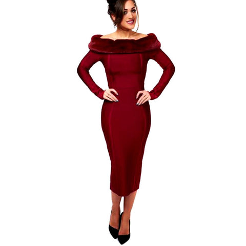 Image of High Quality Sexy Women Dress Long Sleeve Red Fur Off The Shoulder Bandage Dress