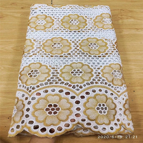 Image of High Quality Swiss Voile Lace African Lace Fabric African Swiss Cotton Embroidered 100% cotton fabric For Party Dress 13L051503