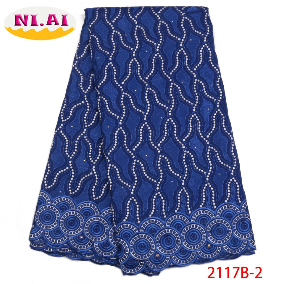 High Quality Swiss Voile Lace Fabric 2018 Latest African Dry Lace Fabric Royal Blue Cotton Laces For Party Dress NA2117B-2