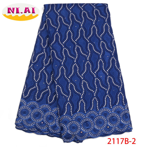 Image of High Quality Swiss Voile Lace Fabric 2018 Latest African Dry Lace Fabric Royal Blue Cotton Laces For Party Dress NA2117B-2