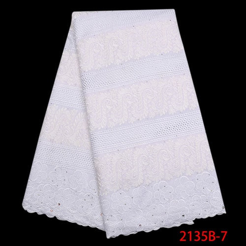 High Quality Swiss Voile Lace In Switzerland Fashion African Dry Cotton Lace Fabric For Nigerian Party Dresses NA2135B-1