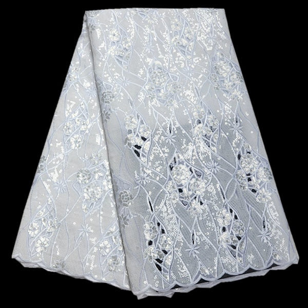 High class Swiss handcut organza lace fabric African voile lace with Allover sequins 2018 high quality for big party dress