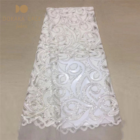 Image of High-end Models Sequined African Net Lace Fabric With Cotton Embroidered Guipure Nigerian Indian Noble Lady Dresses Style Laces