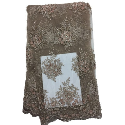 High-end handmade African lace fabric With stones french lace fabric High Quality Nigerian lace for Wedding dressHX1320-1