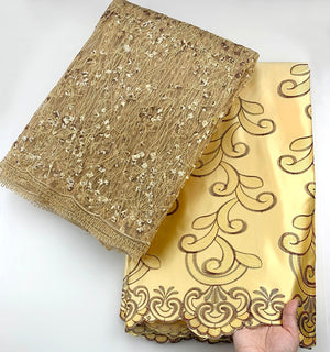 High quality African Net Lace Fabric 2.5+2.5 yard George lace fabric Gold Color For party dress 2020 Latest style
