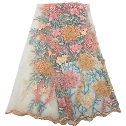 High quality Appliqued blue and pink flower vines design with blue and pink beads ADP121 Free shipping French Tulle Lace Fabric