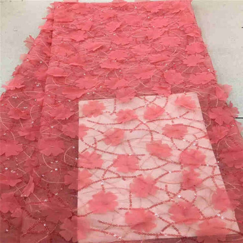 Image of High quality Burgundy African lace fabric sequins french tulle lace fabric 2018 latest arrival hot sale 5 yards for dress