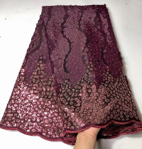 High quality French sequins net lace African tulle mesh guipure S