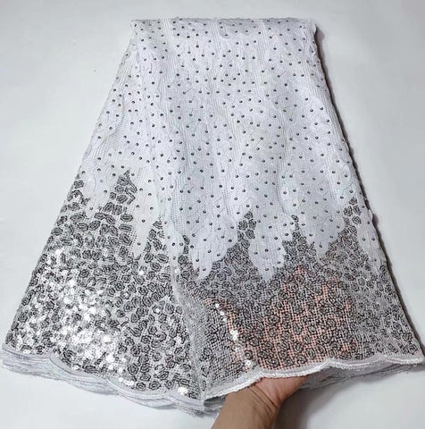 Image of High quality French sequins net lace African tulle mesh guipure Shiny wedding lace for Nigeria party dress 5yards/lot    PFN009