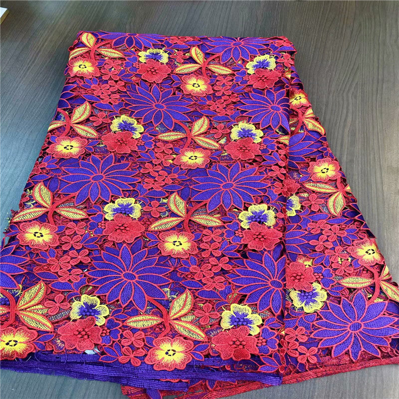 High quality new design nigerian african guipure lace fabric 100% Cotton lace guipure cord lace fabric for wedding    GDP004