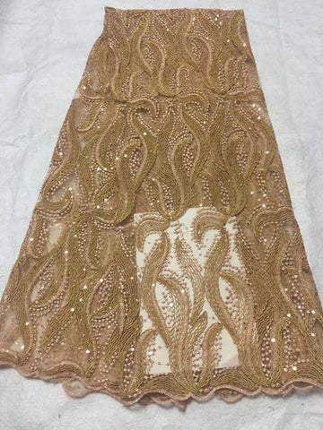 Image of Hot Sale African Lace Fabric High Quality 3d French Nigerian Tulle Lace Fabric Sequins Fabric For African Bridal Lace