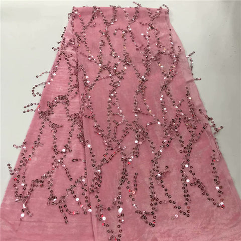 Image of Hot Sale Luxury African Lace Fabric pink High Quality Tulle French 3D sequins velvet Lace Fabrics French Lace for Wedding Dress