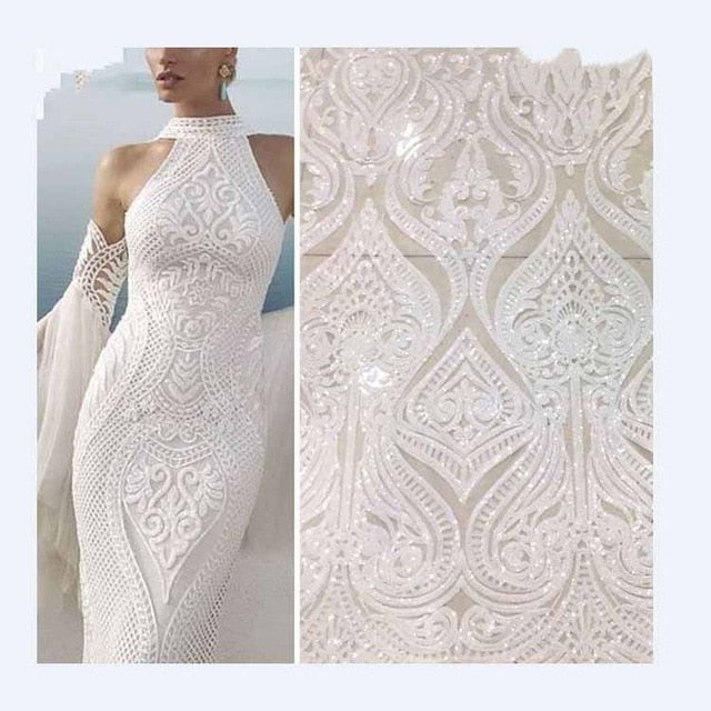 Hot Sale french lace african sequins lace fabric white high quality african tulle lace fabric Ivory voile lace switzerland JLH2
