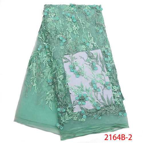 Hot sale 3d flower lace fabric 2018 Nigerian beaded lace fabric handmake embroidery tulle net lace fabric for dresses NA2164B-2