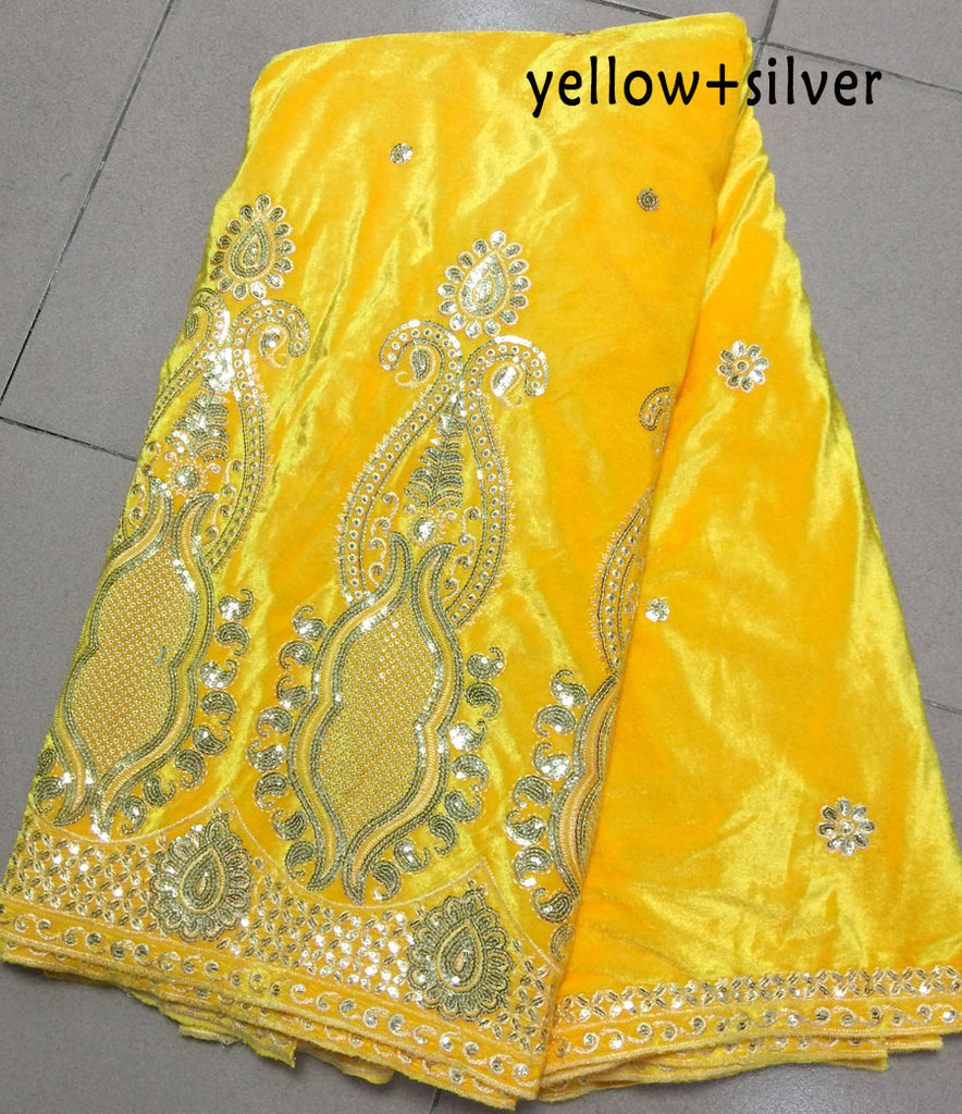 Hot sale Yellow velveteen material african embroidery soft velvet lace fabric with silver sequins for party dress 5yards/pc