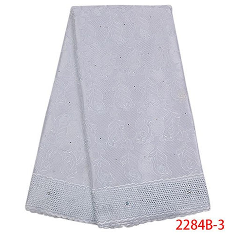 Image of Hot sale swiss dry lace in switzerland for dress high quality African Nigerian lace fabrics with stones cotton fabric NA2285B