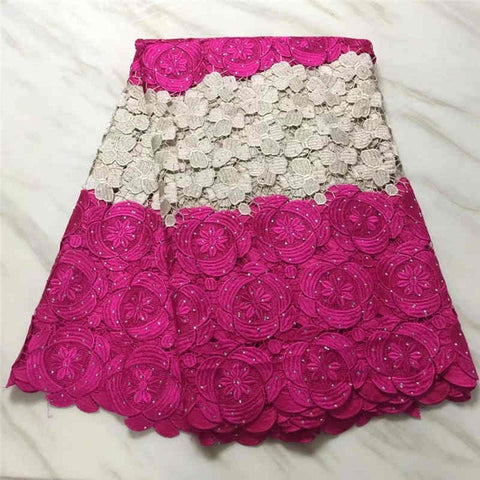 Image of Hot sales Latest African Guipure Lace Fabric High Quality 2018Cord Lace with stones Fabric For Wedding Dresses MJKY2981