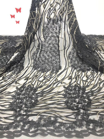 Image of Hot selling african 3D lace fabric 2019 high quality best gold nigerian lace fabric for White Embroidery Swiss voile lace X01