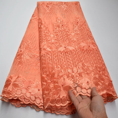 Image of Hot selling embroidered african net lace fabric pretty flower french style net fabric for bridal dress mv552