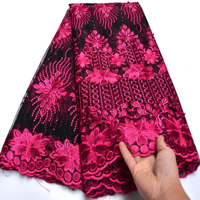 Hot selling embroidered african net lace fabric pretty flower french style net fabric for bridal dress mv552