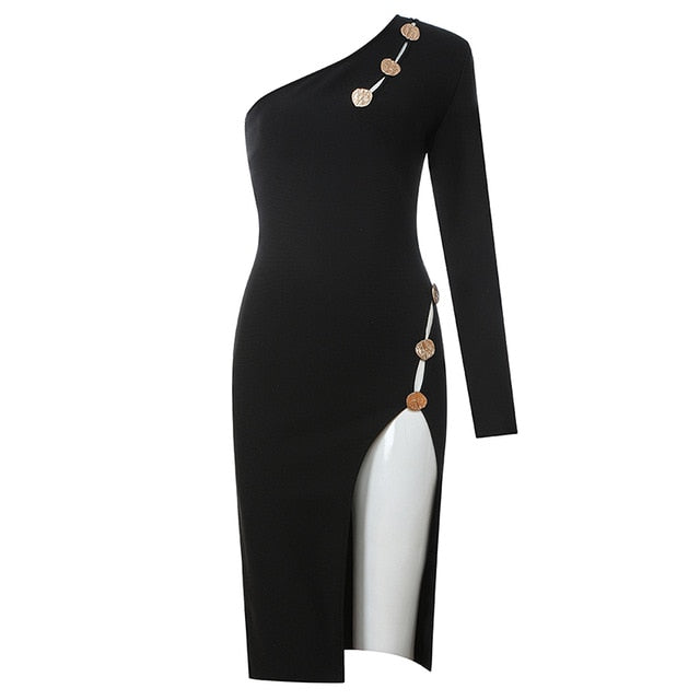 INDRESSME 2019 New Women Party Vestidos Sexy One Shoulder Long Sleeve Hollow Out Studded Detail Asymmetrical Split Bandage Dress