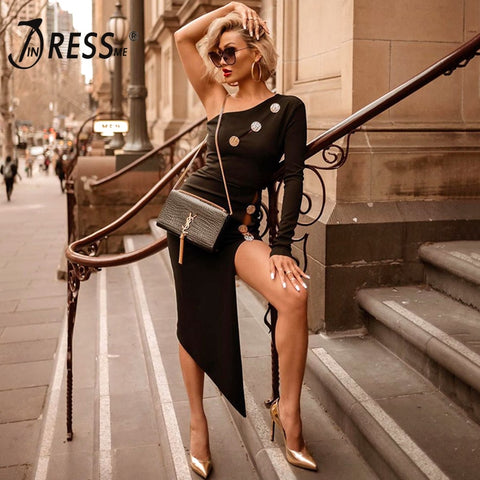 Image of INDRESSME 2019 New Women Party Vestidos Sexy One Shoulder Long Sleeve Hollow Out Studded Detail Asymmetrical Split Bandage Dress