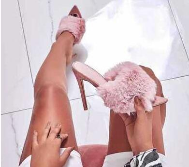 INS fashion Pink Wool Fur Woman sandals peep toe high heels sexy pumps thin heel Slides Colorful female party dress show shoes
