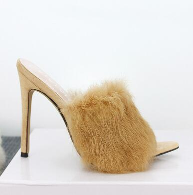 Image of INS fashion Pink Wool Fur Woman sandals peep toe high heels sexy pumps thin heel Slides Colorful female party dress show shoes