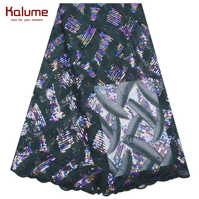 Kalume Newest African Lace Fabric With Sequins Cyan French Net Lace Embroidery Nigerian Tulle Lace Fabric For Party Dress 2039