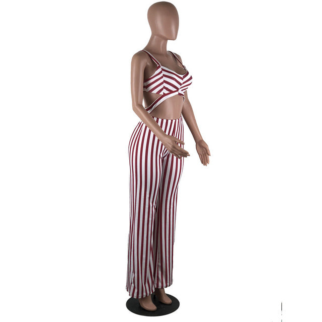 6cd03b9f3 Knot Jumpsuit Srtipe Sexy Hollow Out Plus Size Club Night Clubwear ...