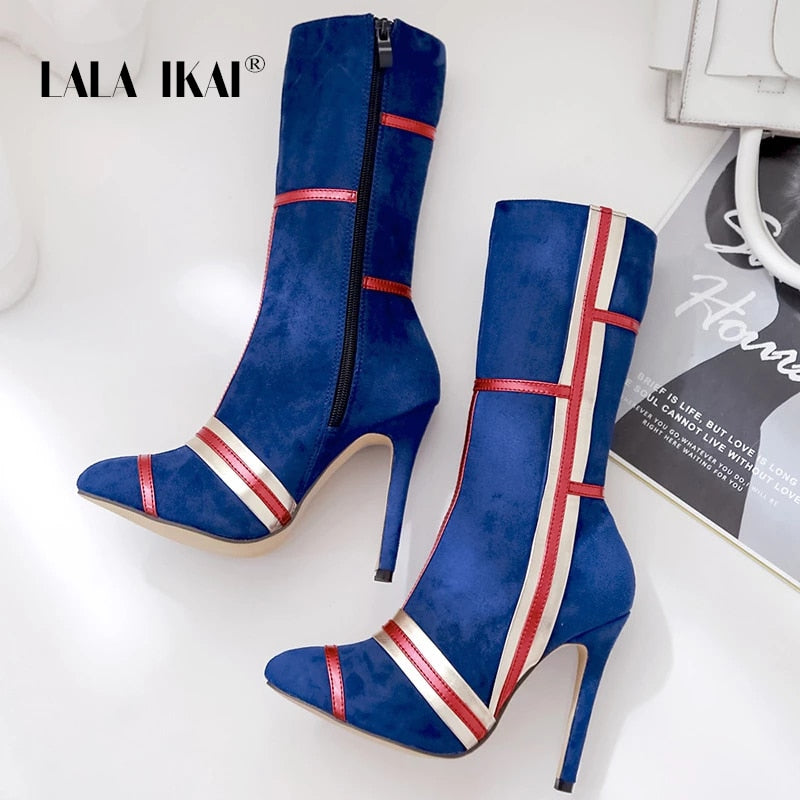 LALA IKAI Women Mid-Calf Zipper Boots Mixed colors Pointed Toe Boots Female Thin High Heels Women Sexy Party Boots XWC5029-4
