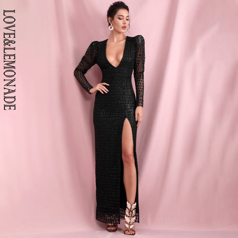 Image of LOVE & LEMONADE Sexy Black V-Neck Bubble Long Sleeve Whit Split Glitter Glue Material Party Maxi Dress LM82256