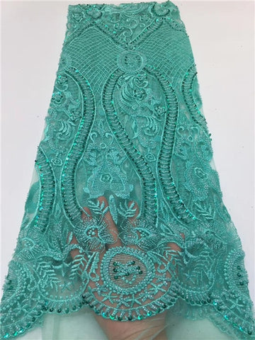Image of LUXURY beads tube design newcoming handsewing beads french lace fabric for occasion dress       ZXNO221