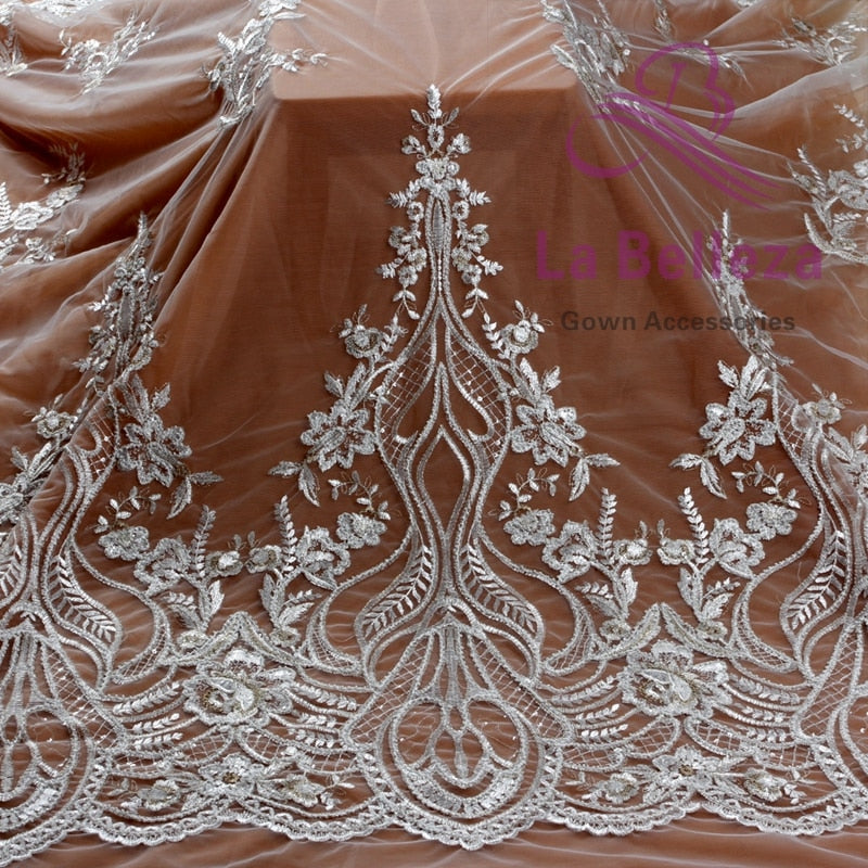 "La Belleza 1 yard off white light gold mixed pearls on mesh embroied dress lace fabric 47"" width ZC180802WT"
