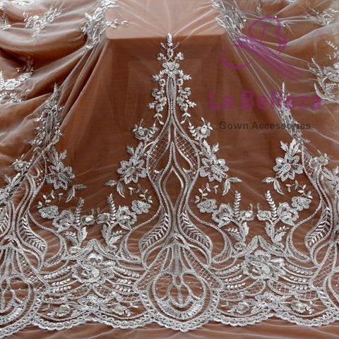 "Image of La Belleza 1 yard off white light gold mixed pearls on mesh embroied dress lace fabric 47"" width ZC180802WT"