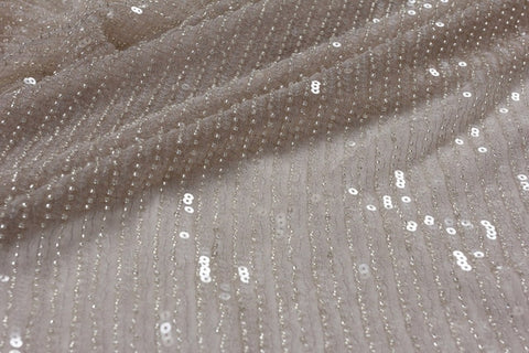 Image of La Belleza 2019 New gray simple line, Light pink  beaded lace fabric beads with sequins  wedding gown dress lace fabric 1 yard