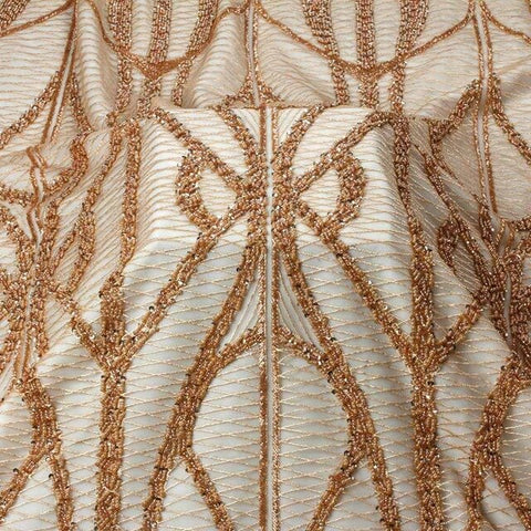 Image of La Belleza 2019 New heavy beaded lace fabric rose gold simple line beading evening dress lace fabric 1 yard